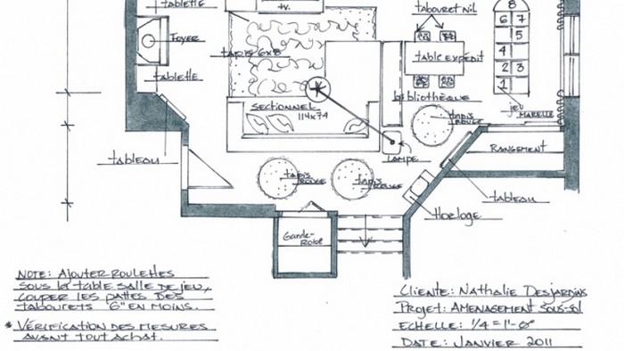 La salle familiale du sous sol de madame desjardins for Plan sous sol